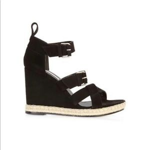 BALENCIAGA Black rope track suede wedge sandals